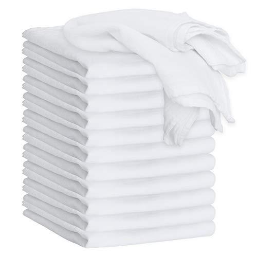 GREEN LIFESTYLE White Flour Sack Towels - 12-Pack of 100%...