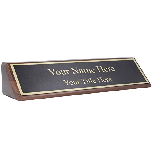 Personalized Walnut Wood Business Desk Black Name Plate with...