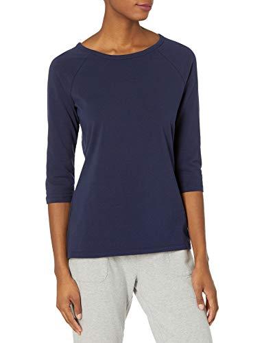 Hanes Women's Stretch Cotton Raglan Sleeve Tee, Navy, Medium