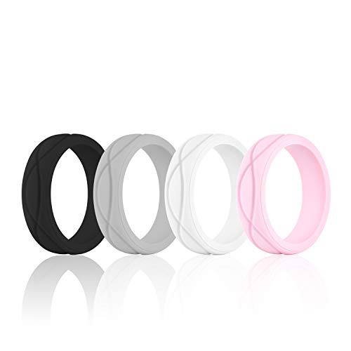 SANXIULY Womens Silicone Ring&Rubber Wedding Bands for...
