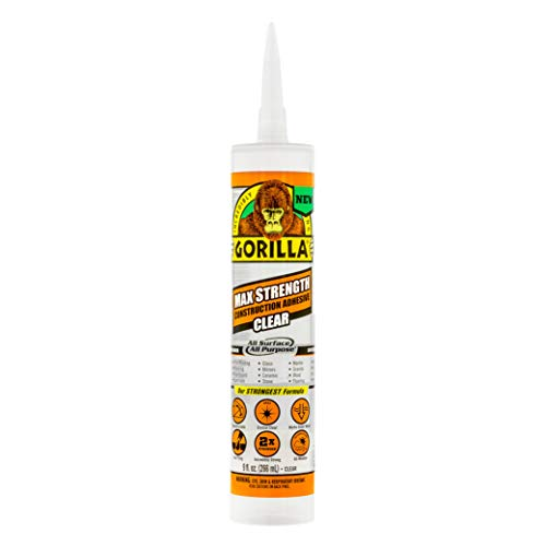 Gorilla 8212302 Max Strength Clear Construction Adhesive,...