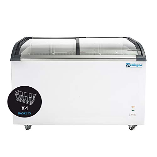 Chingoo Commercial Chest Freezer Glass Top 13 Cu.ft...