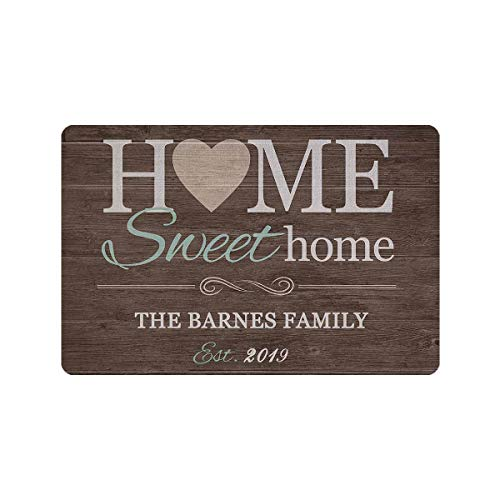 MyPupSocks Personalized Doormat Text Name Sweet Home Custom...