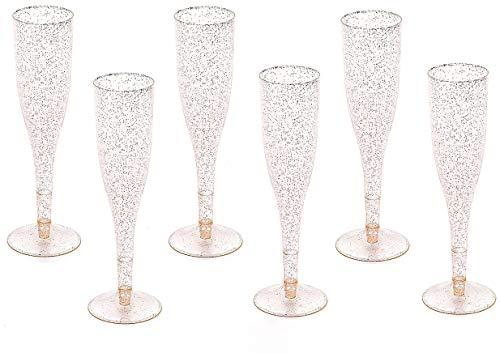 Gold Glitter Plastic Classicware Glass Like Champagne...