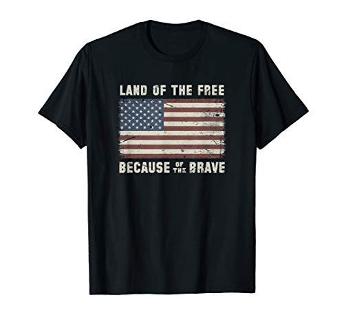 Vintage Flag Land of the Free Because of the Brave T-Shirt