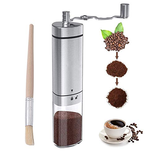 Manual Coffee Grinder Stainless Steel, Portable Hand Coffee...