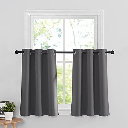 RYB HOME Grey Blackout Valances Curtain Panels - Thermal...