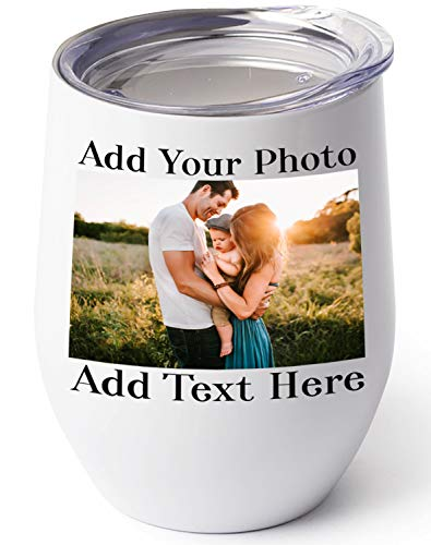 Custom Photo Wine Tumbler, 12 oz. Personalized Cups w/...