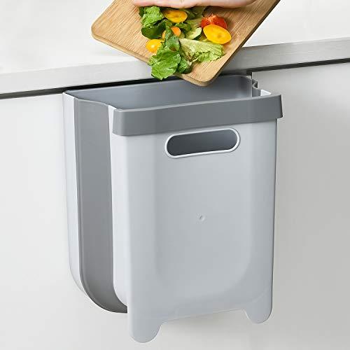SUBEKYU Hanging Folding Trash Can for Kitchen Cabinet Door,...