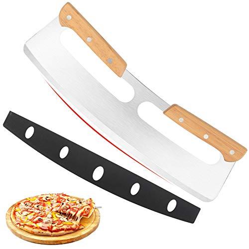 14' Pizza Cutter Rocker with Wooden Handles, Sharp Stainless...