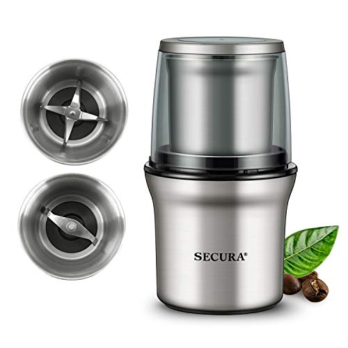 Secura Electric Coffee Grinder and Spice Grinder with 2...