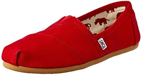 TOMS Women's Classic Alpargata Slip-On Shoe Red Canvas 7.5 M