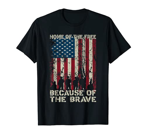 Home Of The Free Because Of The Brave Distress American Flag...