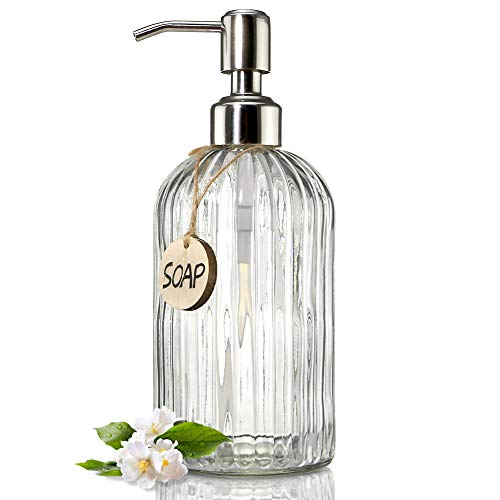 JASAI 18 Oz Clear Glass Soap Dispenser with Rust Proof...