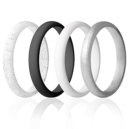 ROQ Silicone Wedding Ring For Women, Set of 4 Thin Stackable...