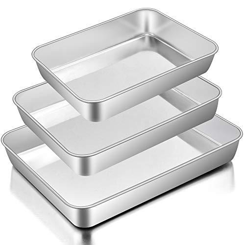 Baking Pans Set of 3, E-far Stainless Steel Sheet Cake Pan...