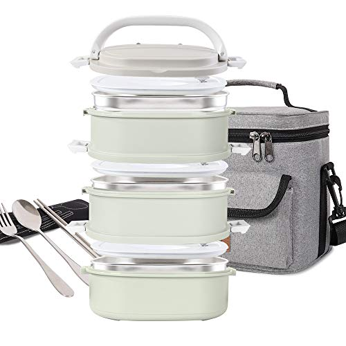 Lunch Box Stainless Steel Food Containers 3 Stackable Square...