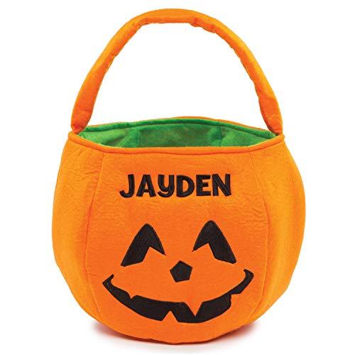Halloween Orange Pumpkin Personalized Trick or Treat Bucket...