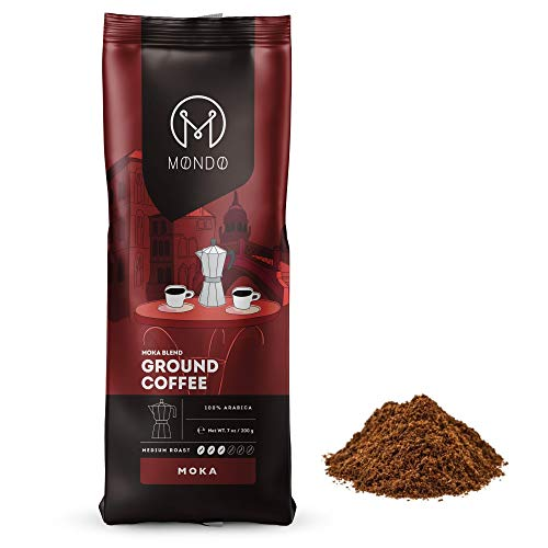 Mondo Moka Ground Coffee, Medium Roast, 100% Arabica Blend,...