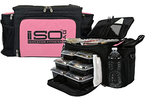 Meal Prep Lunch Box ISOBAG - Large Insulated 6 Meal Prep...