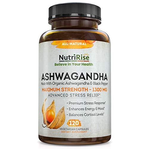 Ashwagandha 1300mg Made with Organic Ashwagandha Root Powder...
