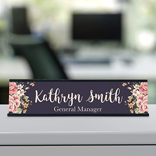 Personalized Custom Desk Name Plate Floral Pretty Roses 15...