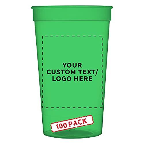 100 Translucent Plastic Stadium Cups Set, 22 oz. -...