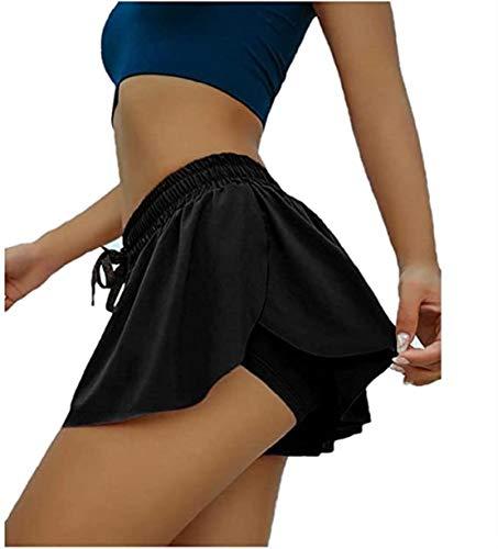 Shorts Womens 2 in 1 Flowy Fitness Shorts Skirt, Flowy Hem...