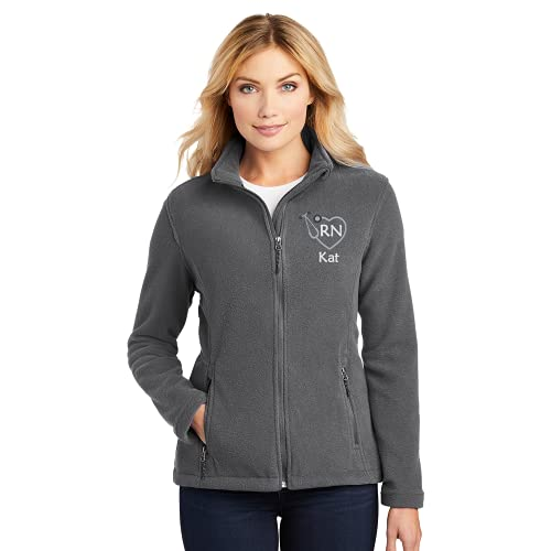 Personalized RN Fleece Jacket Gift for Nurse (Grey, Large)