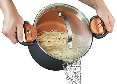 GOTHAM STEEL 5 Quart Multipurpose Pasta Pot with Strainer...