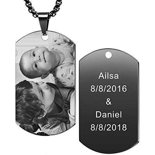 MeMeDIY Personalized Dog Tag Pendant Necklace Engraving...