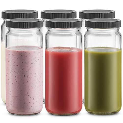 Travel Glass Drinking Bottle Mason Jar 16 Ounce [6-Pack]...