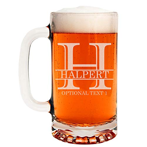 Personalized Etched Monogram 16oz Glass Beer Mug, Halpert