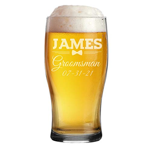 Monogrammed Etched Pilsner Beer Mug Pub Glass - Custom...