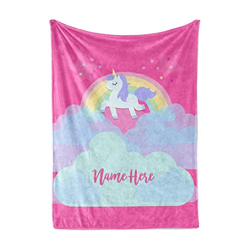 Personalized Magical Rainbow Unicorn Blanket for Kids,...