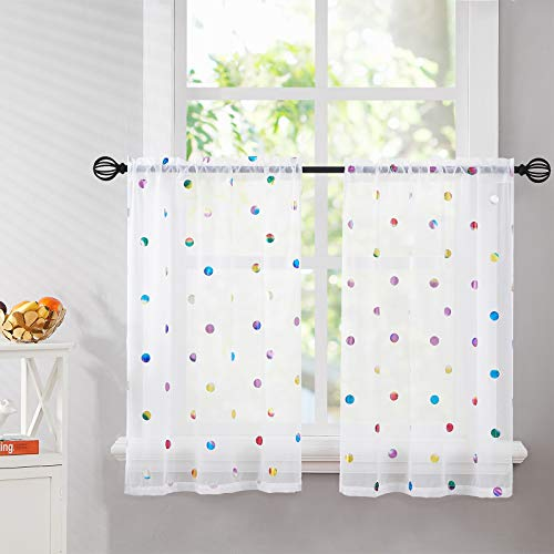 Kitchen Tier Curtains White 24 inches Length Sparkle...