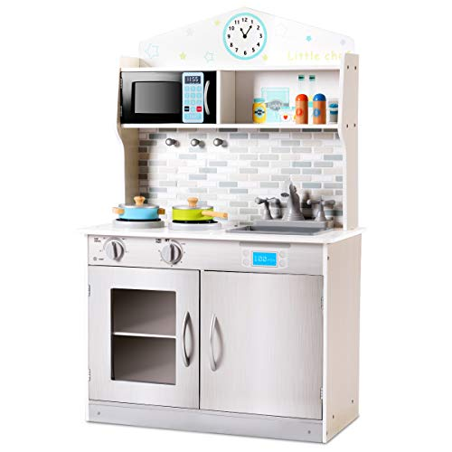 Costzon Kids Kitchen Playset, Wooden Cookware Pretend...