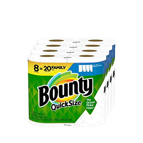 Bounty Quick-Size Paper Towels, White, 8 Family Rolls = 20...