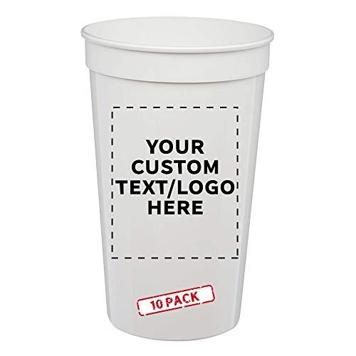 Custom Large Plastic Stadium Cups, 10 pack, Personalized...