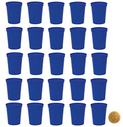Royal Blue Plastic Party Cups, Pack of 25, Blank 16 oz...