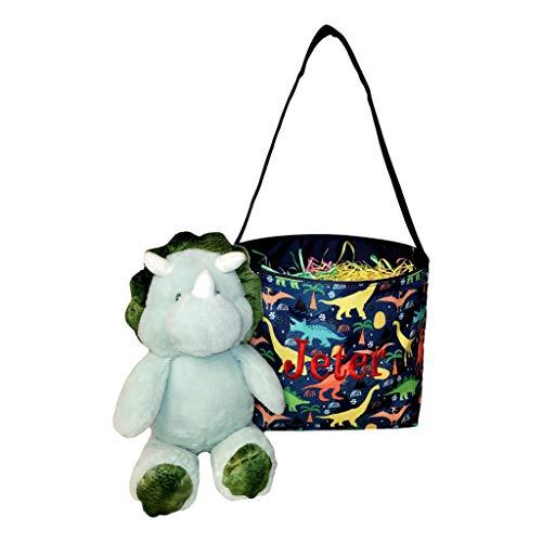 Dinosaur Easter Basket Bucket Fabric Tote Bag Toy Bin - Can...