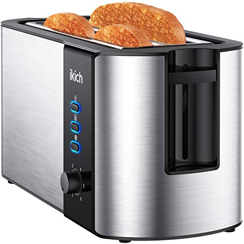 IKICH Toaster 4 Slice, Toaster 2 Long Slot Stainless Steel,...