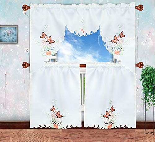 Simhomsen Embroidered Butterfly Kitchen Curtain Swag and...