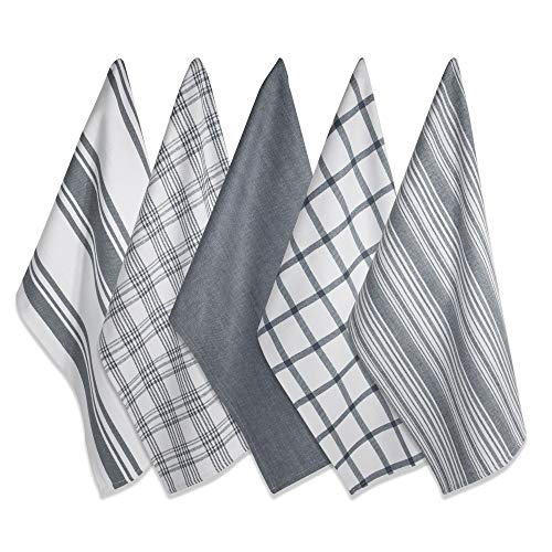 DII Kitchen Dish Towels (Gray, 18x28'), Ultra Absorbent &...