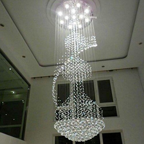 7PM Spiral Staircase Chandelier Modern K9 Crystal Raindrop...