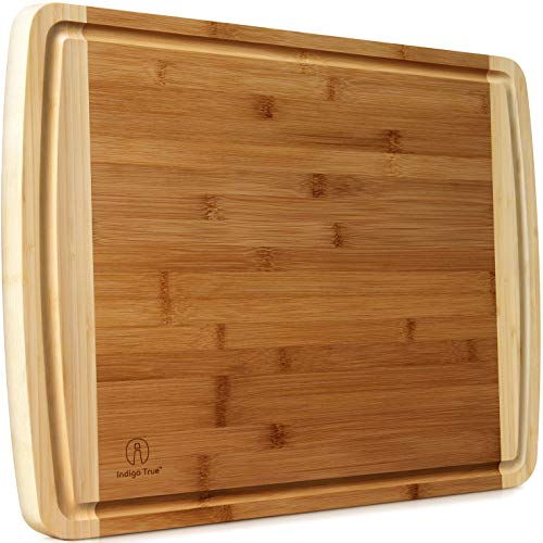 Extra Large Bamboo Cutting Boards for Kitchen with Juice...