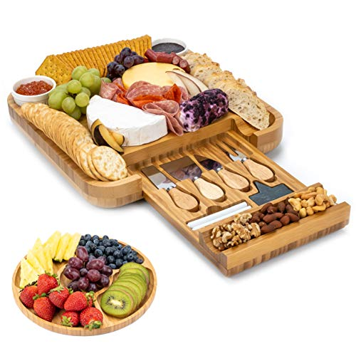 Smirly Cheese Board and Knife Set: 13 x 13 x 2 Inch Wood...