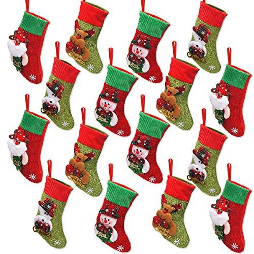 LimBridge Mini Christmas Stockings, 16 Pack 8 inches 3D Kids...