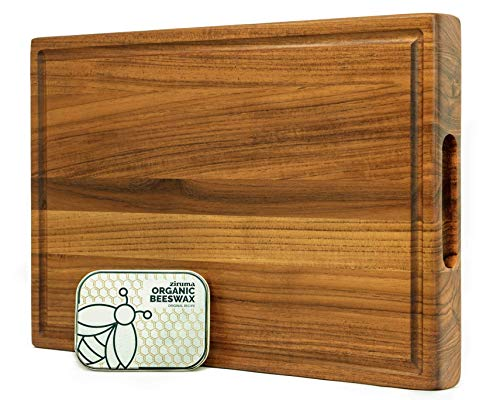 Prime Teak Wood Cutting Board Cured with Pure Beeswax and...