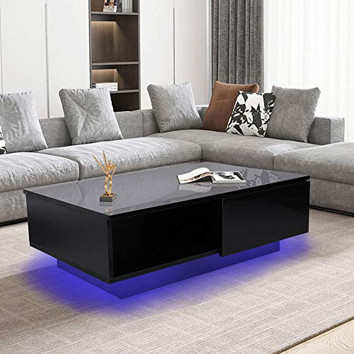 LED Coffee Table, Black Modern Style Furniture Coffee Table...
